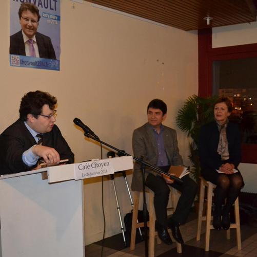 Richard Honvault, Olivier Cadic et Catherine Fournier au café Citoyen de Boulogne sur Mer