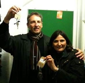 Michel Monsauret et Sophie Routier, en 2009, prenant possession des clés du futur Collège français bilingue de Londres (CFBL)