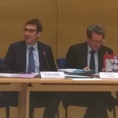 (g. à d.) Jean Bassères et le président de la commission, Alain Milon - Sénat