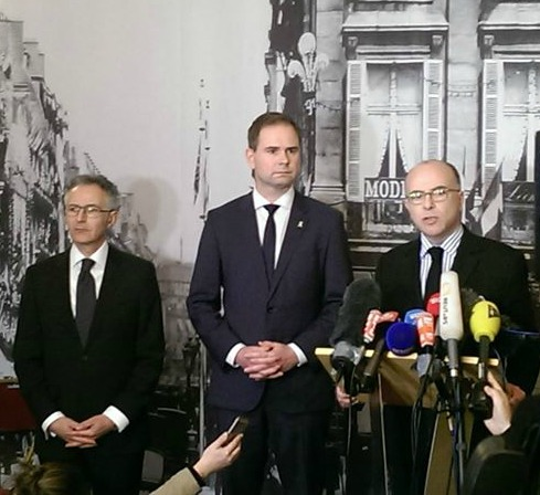 Copenhague : François Zimeray, ambassadeur de France au Danemark, Nicolai Wammen, ministre de la Défense du Danemark et Bernard Cazeneuve, ministre de l'Intérieur