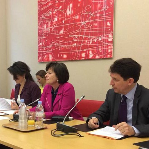 Présentation du rapport sur le Royaume-Uni. Elisabeth Lamure, présidente de la Délégation sénatoriale aux entreprises et Olivier Cadic