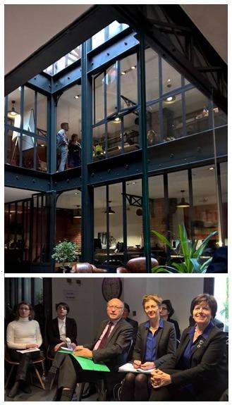 La DSAE, conduite par Elisabeth Lamure (à droite de l'image), a visité la Filature, lieu atypique dédié l'entrepreneuriat