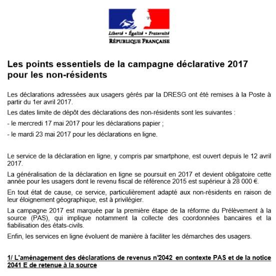 Declaration De Revenus 2016 Avancee Pour Les Non Residents Olivier